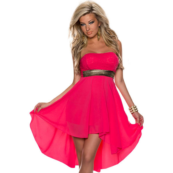 Rose Pink Summer Strapless Dress with Belt Free Shipping Women Off Shoulder  Sexy Lace Dress Patchwork ba7ccfdc4f