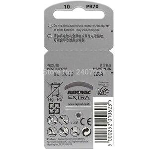 Image 3 - Nova embalagem 10 cartão (60pcs) rayovac pilhas auditivas 10/a10/pr70 1.45v, aparelho auditivo, bateria siemens feito no reino unido