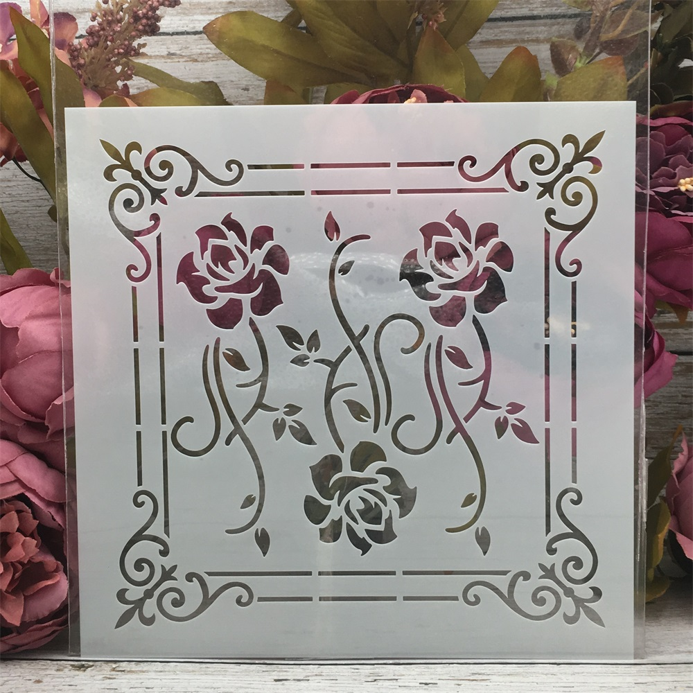 20*20cm Flower Frame Floral DIY Layering Stencils Painting Scrapbook Coloring Embossing Album Decorative Template