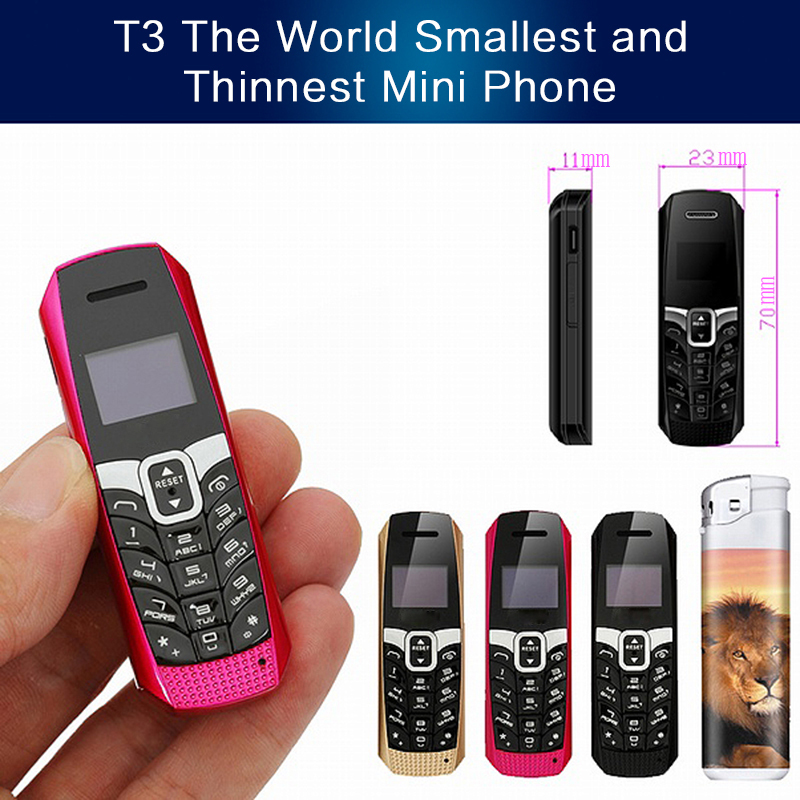 US $25 5 25% OFF|T3 smallest thinnest mini mobile phone bluetooth 3 0  dialer Phonebook/SMS/music sync FM magic voice cell phone P292-in Mobile  Phones