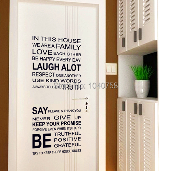 Living Room Sayings aliexpress : buy removable family rules pvc wall stickers