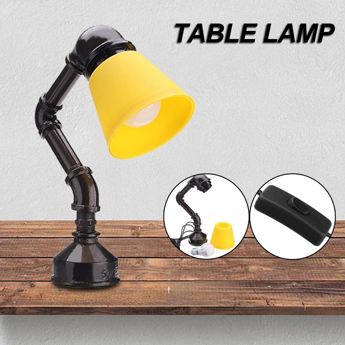 Industrial Vintage Retro Style Water Pipe Shape Lamp Cafe Decorative Table Lamp Stand With Light Bulb Book Lights Home Decor