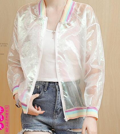 1pcs/lot korean style woman casual Transparent rainbow sun protection coat female o-neck zipper sun-proof coat
