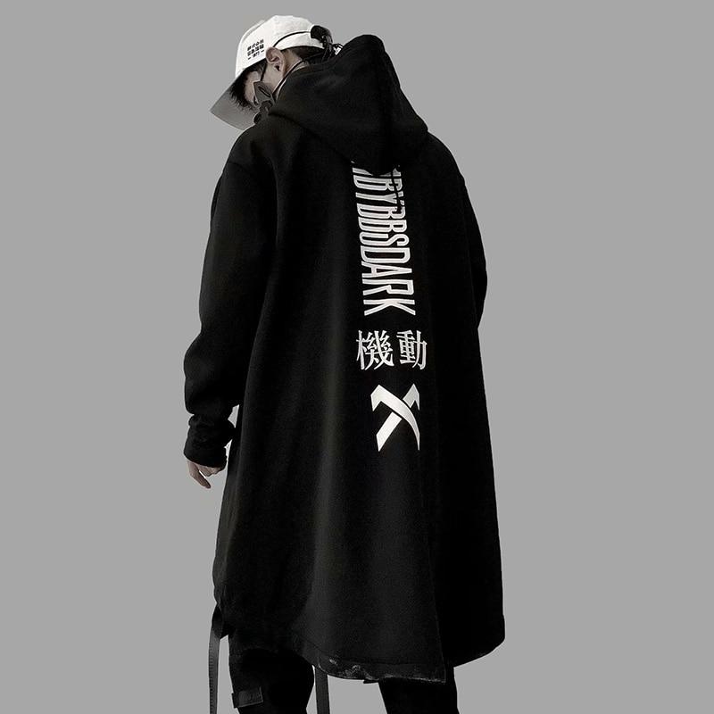 Autumn 2019 Men Harajuku Hip Hop Coats Male Jacket Oversize Long Hoodie Cotton Fashion Swag Coat And Jacket US Size
