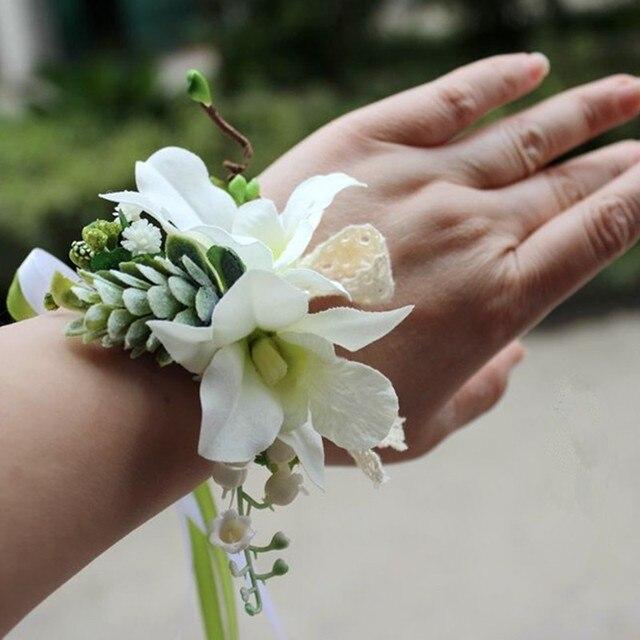 6 pec handmade wedding bride wrist corsage bride bridesmaid hand 6 pec handmade wedding bride wrist corsage bride bridesmaid hand flowers small orchid silk flower white mightylinksfo