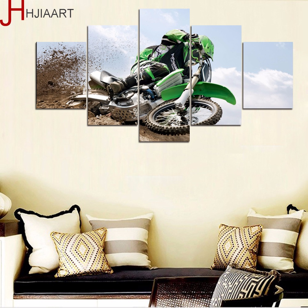 HJIAART 5 Panels Framed Motorcross Painting for Living Room Wall Art Picture Sports View ...