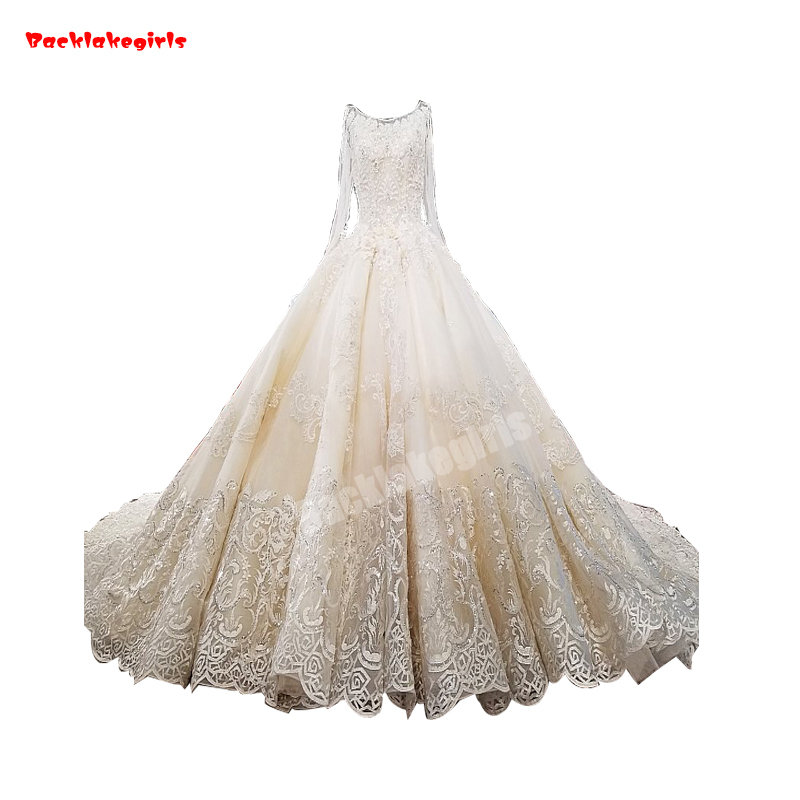 62347 New Style Lace Up Ladylike Bridal Dress Corset Back Princess Wedding Dress With Long Train Vestido De Novia