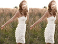 Cute white Strapless Cocktail Dresses knee-lenght Party Dresses With chiffon  2015 Fashion Vestido De Festa