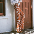 High waist brown pattern flared trousers women spring autumn slim fit patterned trousers ladies plus size vintage bohemian pants