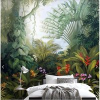 Large custom hand painted murals medieval tropical rainforest plant landscape wallpaper living room TV background wall paper