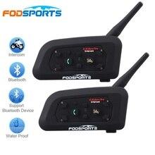 2017 Fodsports 2 sztuk V6 Pro Zestaw Słuchawkowy Bluetooth Kask Motocyklowy BT Domofon Domofon 6 Zawodników 1200 M Bezprzewodowy Intercomunicador