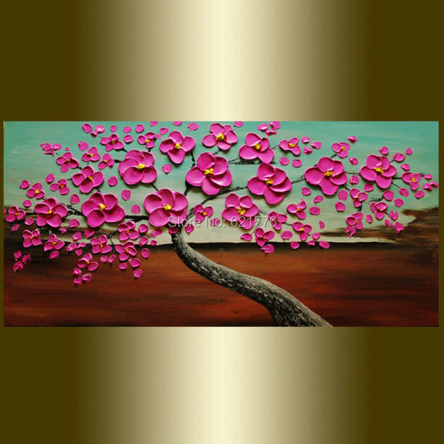 Hand Painted Home Decor Abstract Magenta Hibiscus Flowers Wall Art Picture Thick Palette Knife