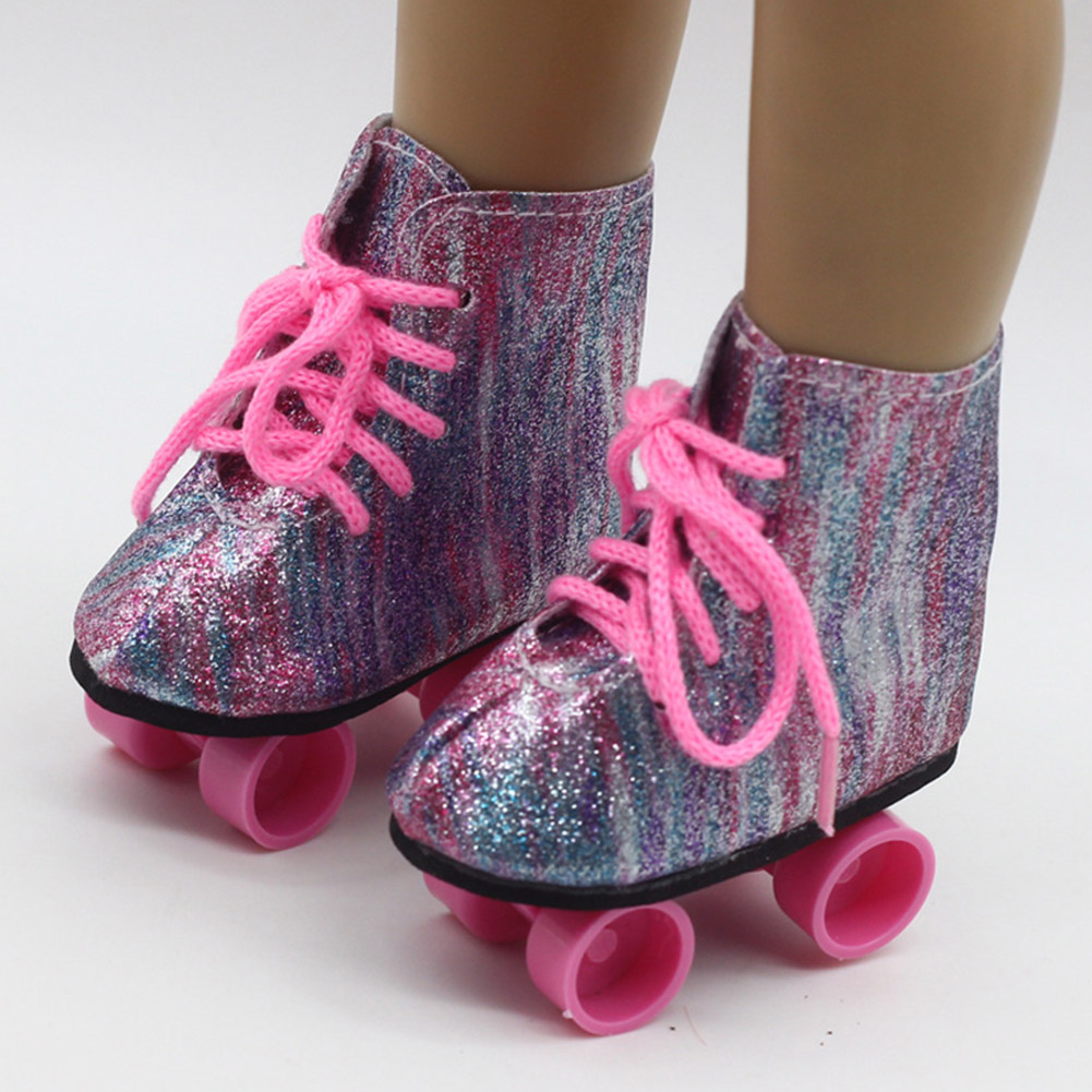 Fashionable Ice Boots Birthday Mini Skateboard Cute Roller Skates Glitter Toys Accessory Entertainment For 18inch American Dolls