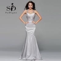 Evening Dress 2017 SoDigne Hot Sale Rhinestone Crystal Pleats Long Prom Party Dres Royalty Elegant Lange Abendkleider