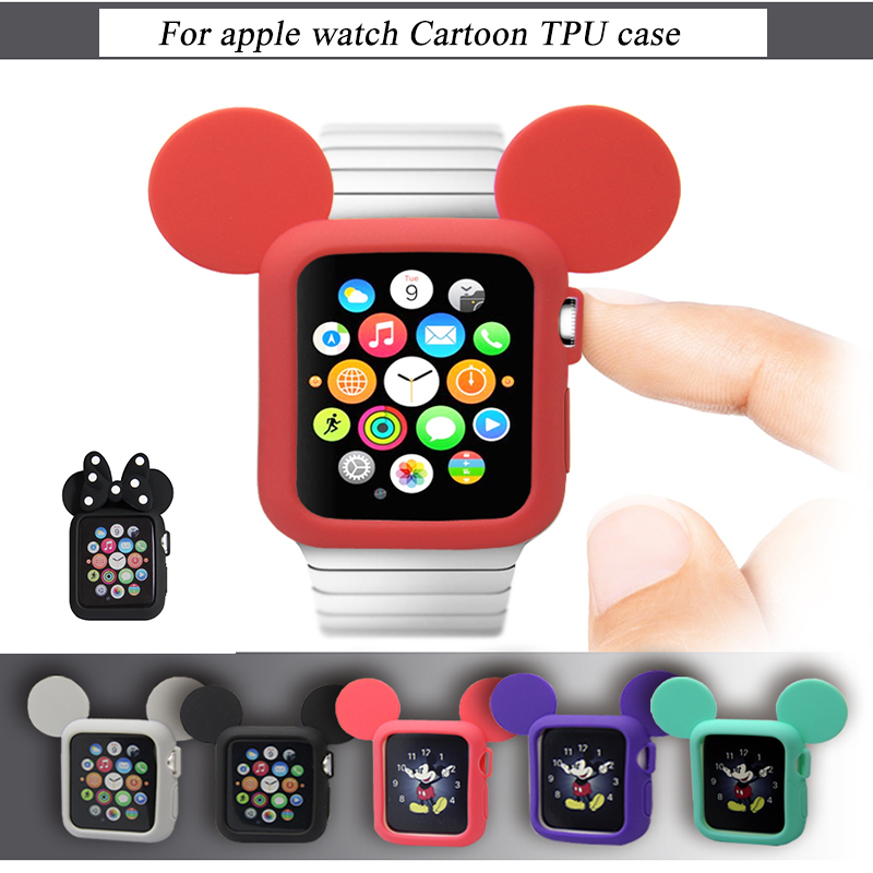 Soft Silicone Replacement Cove bumper For Apple Watch 4 44/40mm Cute Minnie Protective Case for iWatch 3/2/1 Accessories 38/42mm