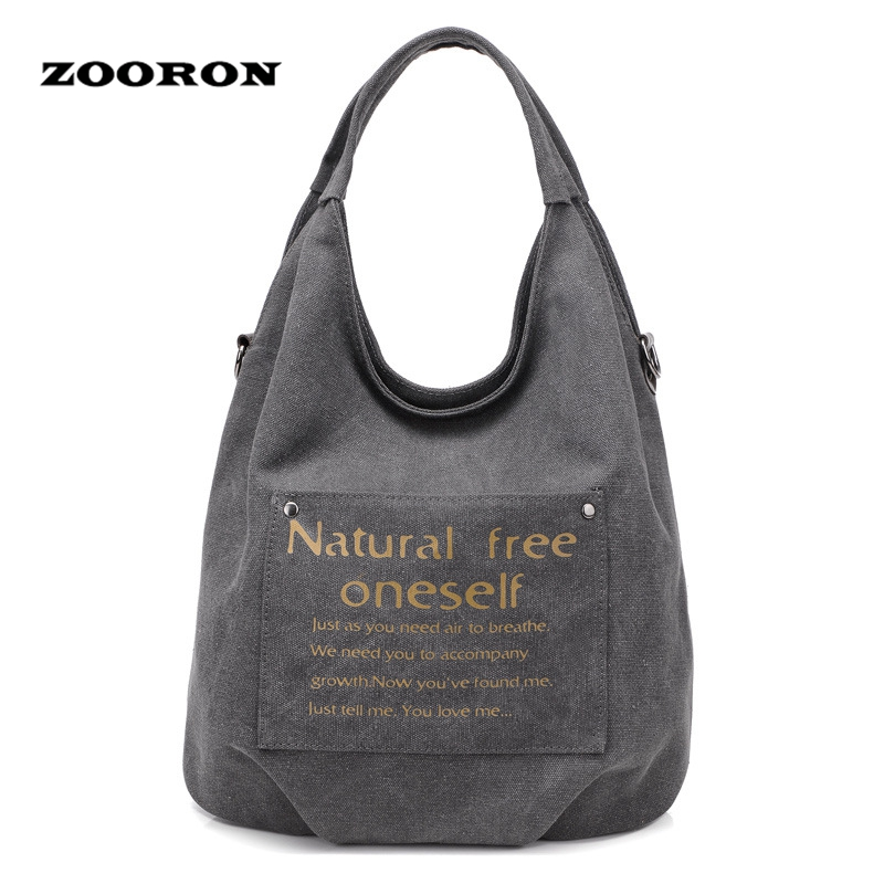 2017 New Korean Version of Women's Fashion Canvas Handbags Female Hobos Letters