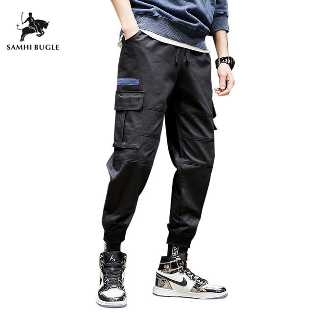 c1352f14d US $21.99 49% OFF|2019 Mens Black Khaki Tactical Cargo Pants Men Joggers  Boost Military Casual Cotton Pants Hip Hop Ribbon Male army Trousers-in  Cargo ...