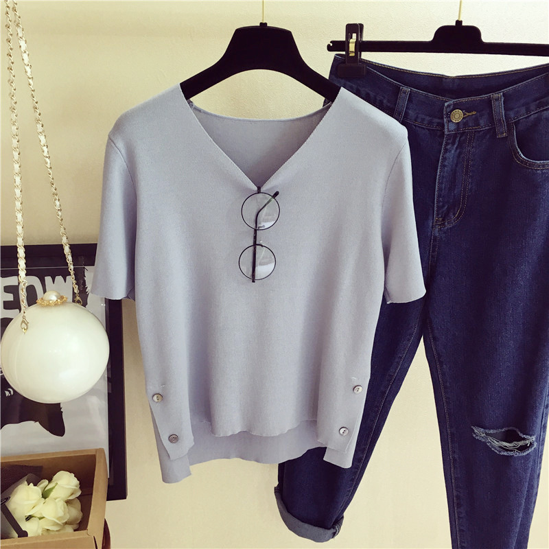 Fashion Korean version of the solid color V-neck knit pullover five-point women's loose bottoming shirt sleeve Women Sweater7006