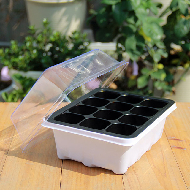 WHISM Nursery Tray with Lids 12 Hole Seed Tray Box Plastic Square Succulent Plant Pot Mini Greenhouse Flower Seeding Tray Pot