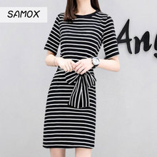 JSMY 2019 New Summer Striped T-shirt Dress Female Short-sleeved Slim Bottoming Waist Tie Bow Simple Dress self tie waist random striped dress