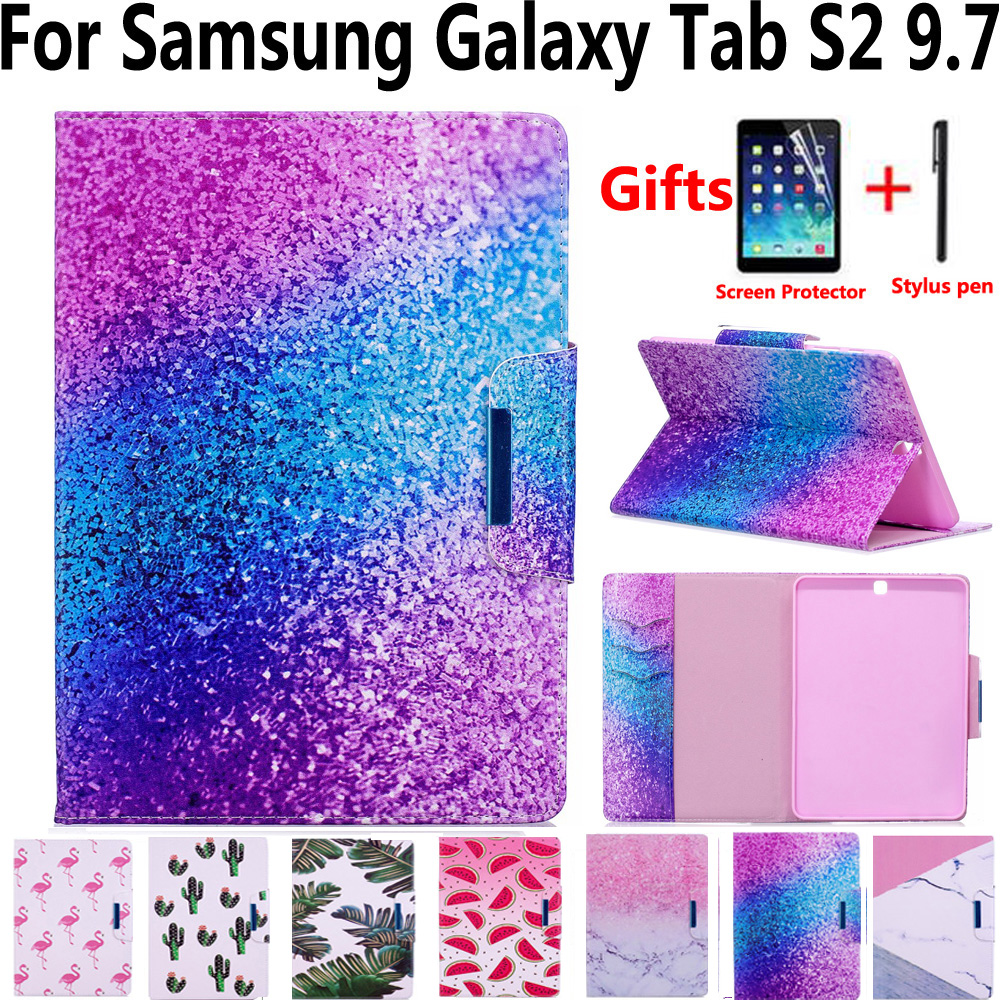 Marble Painted Magnet Pu Leather Cover Case for Samsung Galaxy Tab S2 9.7 SM-T810 T810 T815 T813 T819 with Screen Protector Film pu leather with card slots stand cute book cover case for samsung galaxy tab s2 9 7 inch tablet t810 t813 t815 t819 t819c t815c