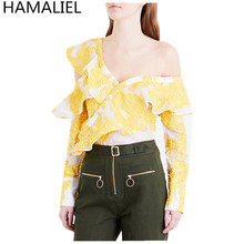 HAMALIEL Runway Self Portrait Summer Women Blusa 2017 Fashion One Shoulder Yellow Ruffles V Neck Female Long Sleeve Blouse Top
