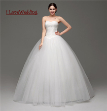 iLoveWedding Stock New Tulle Lace Ball Gown Wedding Dresses Women Formal Bridal Gowns With Free Necklace Vestidos de novia 28241