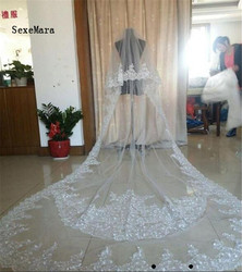 Real Photos White Ivory 3 Meters Cathedral Lace Applique Wedding Veil with Comb New Bridal Veil