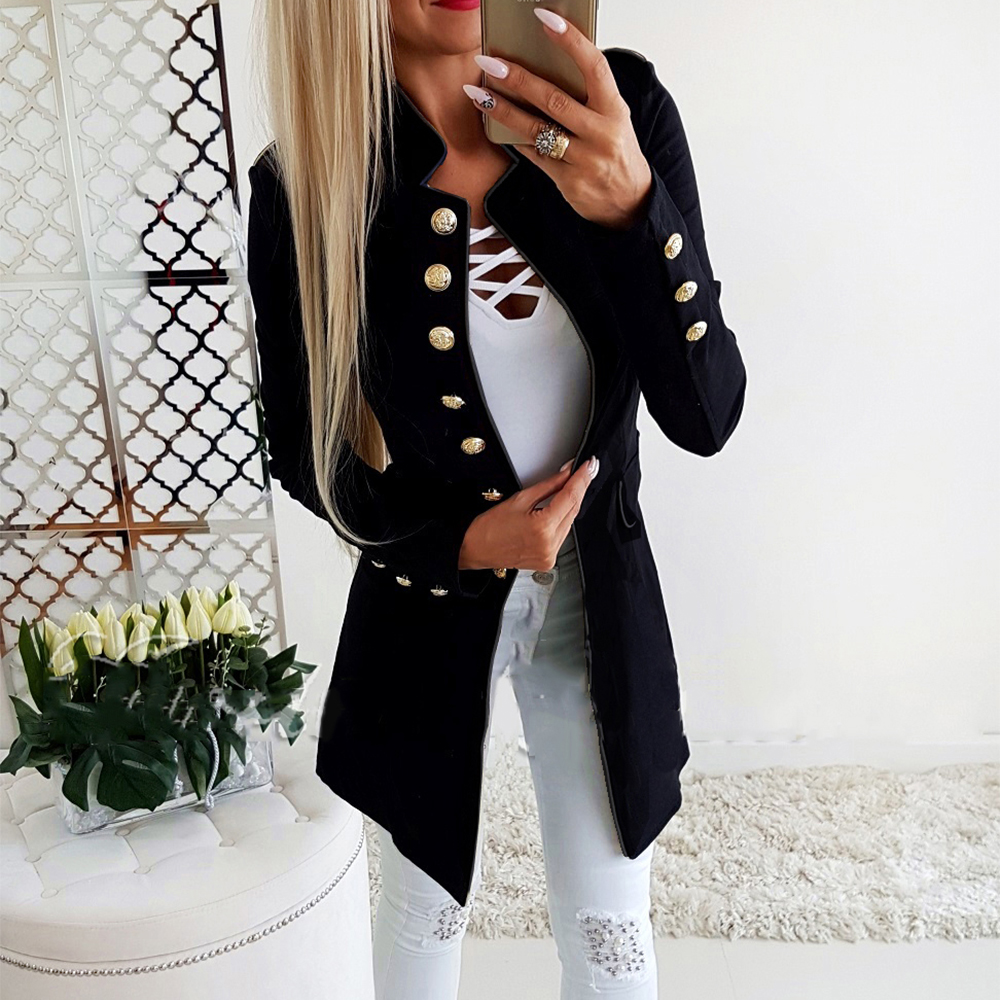 Women Blazer Solid Color Single Breasted Long Suit Coat Formal Office Ladies Mandarin Collar Button Pockets Slim Fit Uniform H30