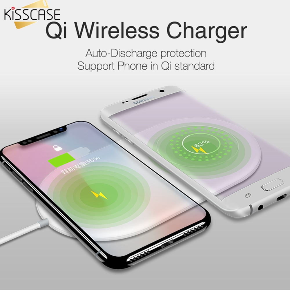 KISSCASE QI Wireless Charger 2 in 1 Charging for Samsung S9 S8 S10 S9Plus Note 8 S8Plus Wireless Charger Pad For iPhone X XR XS-in Mobile Phone Chargers from Cellphones & Telecommunications