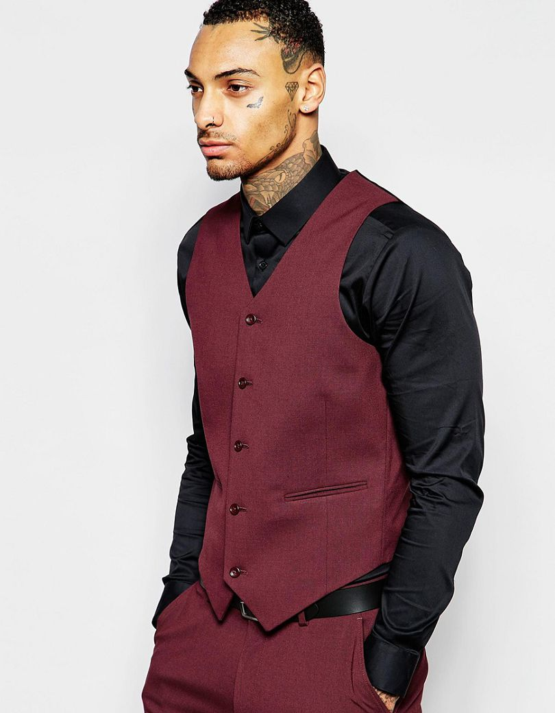 Hot sale handsome popular custom made skinny waistcoat in for Black suit burgundy shirt