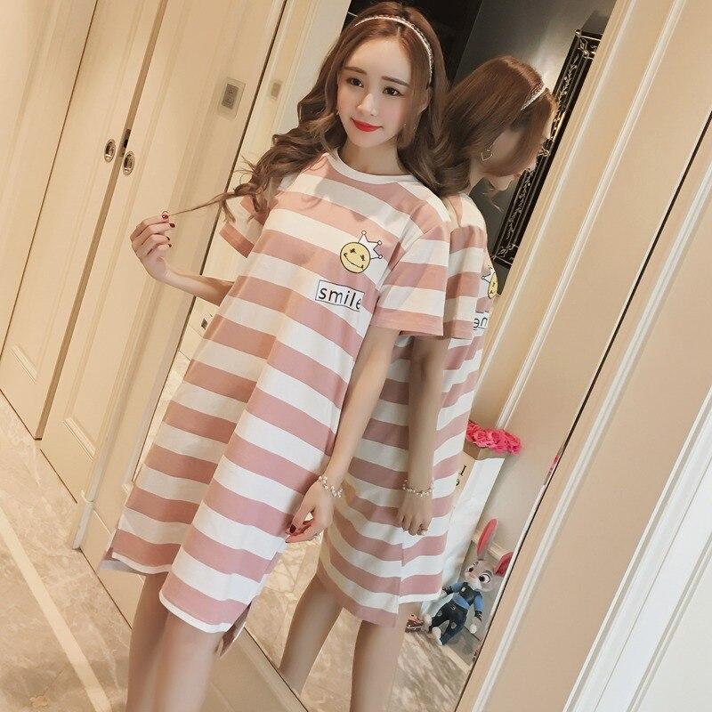 Casual Striped Cotton Nightgown for Women 2019 Summer Short Sleeve Night Dress Femme Cute Sleepwear Nightdress Home Dress Nighty
