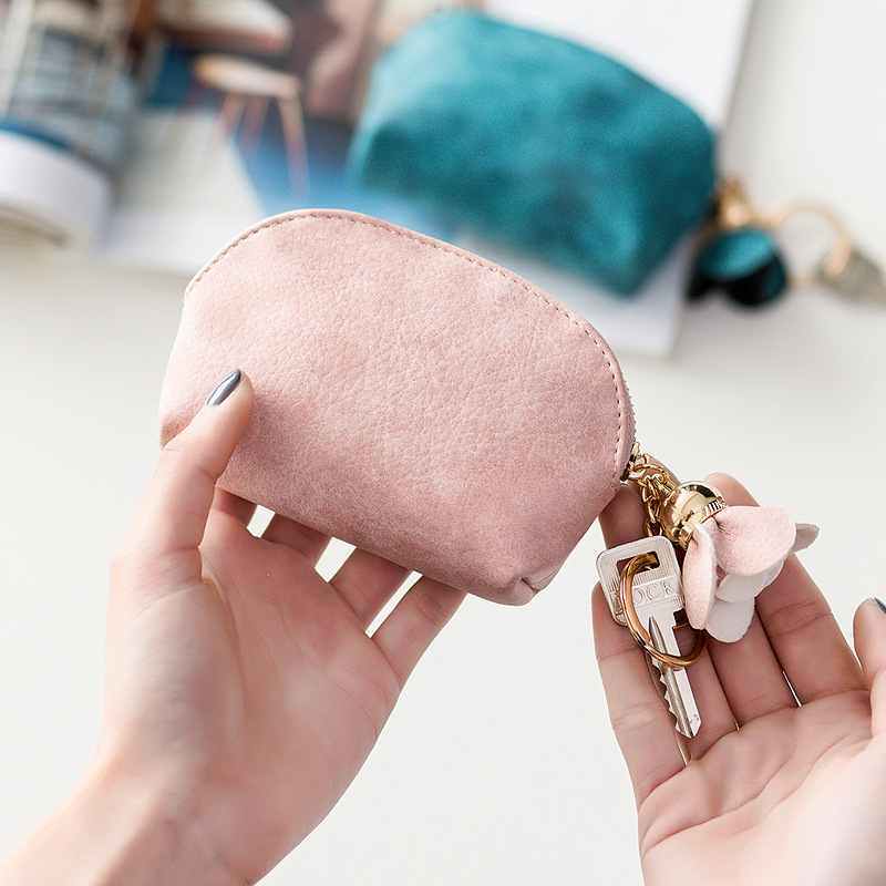 Leather Girls Pink Coin Purse Cute Korean Female Student Short Card Pack Mini Small Fresh Korean Coin Bag Wallet Clutch Handbag