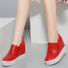 Купить с кэшбэком NAYIDUYUN     Casual Shoes Women Cow Leather Breathable Wedges Platform Evening Pumps Shoes Summer High Heel Punk Sneaker