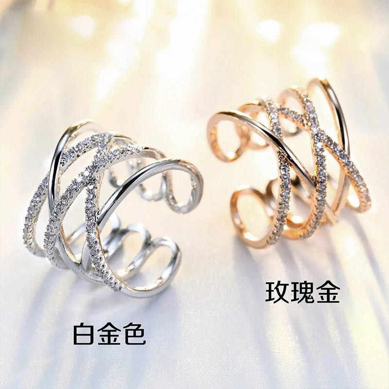 2019 Fashion Large Crystal Layer 925 Sterling Silver Rings for Women Jewelry Adjustable Size Finger Engagement S925 Antique Ring