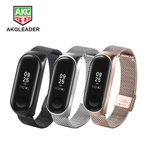 AKGLEADER Mi Band 3 Metal Stainless Steel Wristbands Strap
