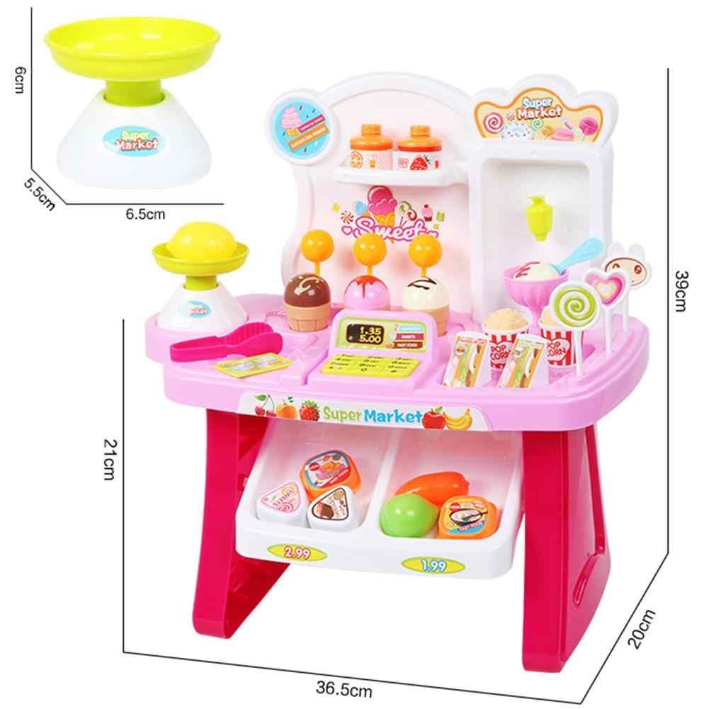 Anak 'S Multi Fungsional Kasir Supermarket Gerobak Es Krim Es Krim Keranjang Belanja Penjualan Meja Bermain Rumah Mainan