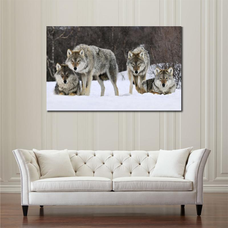 Hd Animals Canvas Prints Modern Gray Wolves Norway Unframed Wolf Painting Home Decoration Living Room Bedroom Decor Wall
