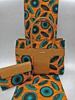 (3 шт./компл.) 6 ярдов orange и Чирок африканских Анкара ткань с сумочкой и сумочки в африканском стиле Модные текстильные Mar 8 2018