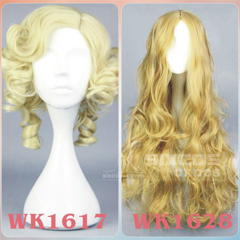 Full Lace Heat Resistant Wig 30cm/70cm Yellow/Light Brown Curly Wavy Hair Cinderella/Fairy Godmother Synthetic Cosplay Wigs Cap