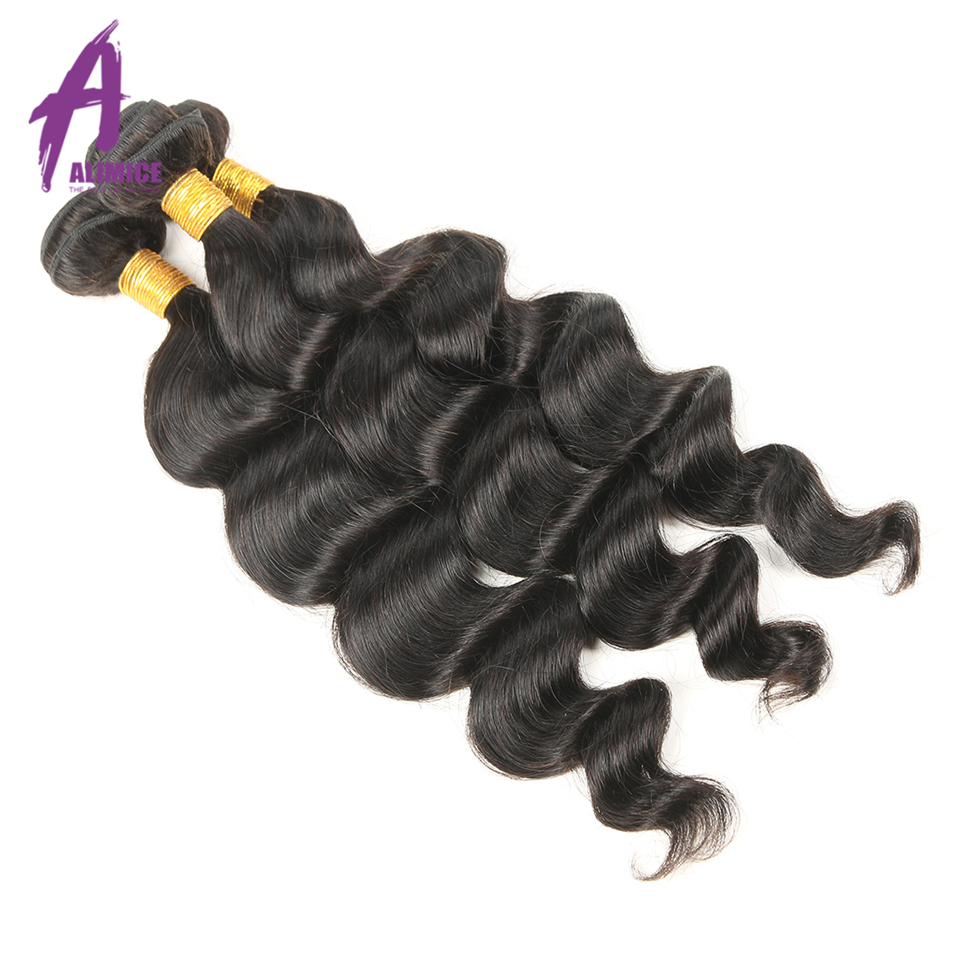 Peruvian Loose Wave Hair Natural Color 3 Bundles 100 Grams Weave Bundles Alimice 100% Non Remy Human Hair 8-30 Inches Available
