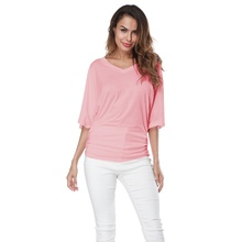 Women's Fashion Summer V Neck Batwing Short Sleeve T Shirt Casual Solid Color T-shirt  Loose Cotton Tops Plus Size S-5XL plain loose round neck batwing sleeve t shirt