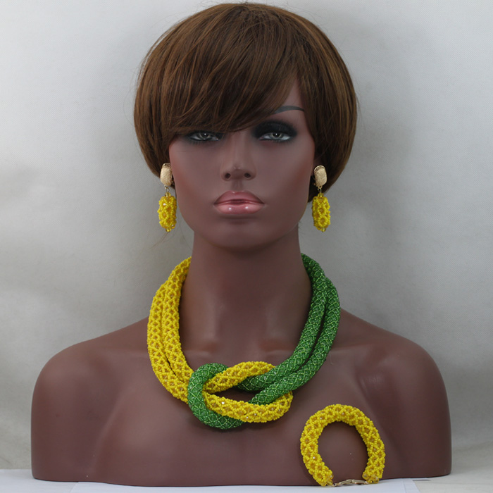 Fashionable Chunky Yellow African Beads Jewelry Sets Green Nigerian Wedding Special Unique Bead Jewelry Set Free Shipping QW013Fashionable Chunky Yellow African Beads Jewelry Sets Green Nigerian Wedding Special Unique Bead Jewelry Set Free Shipping QW013