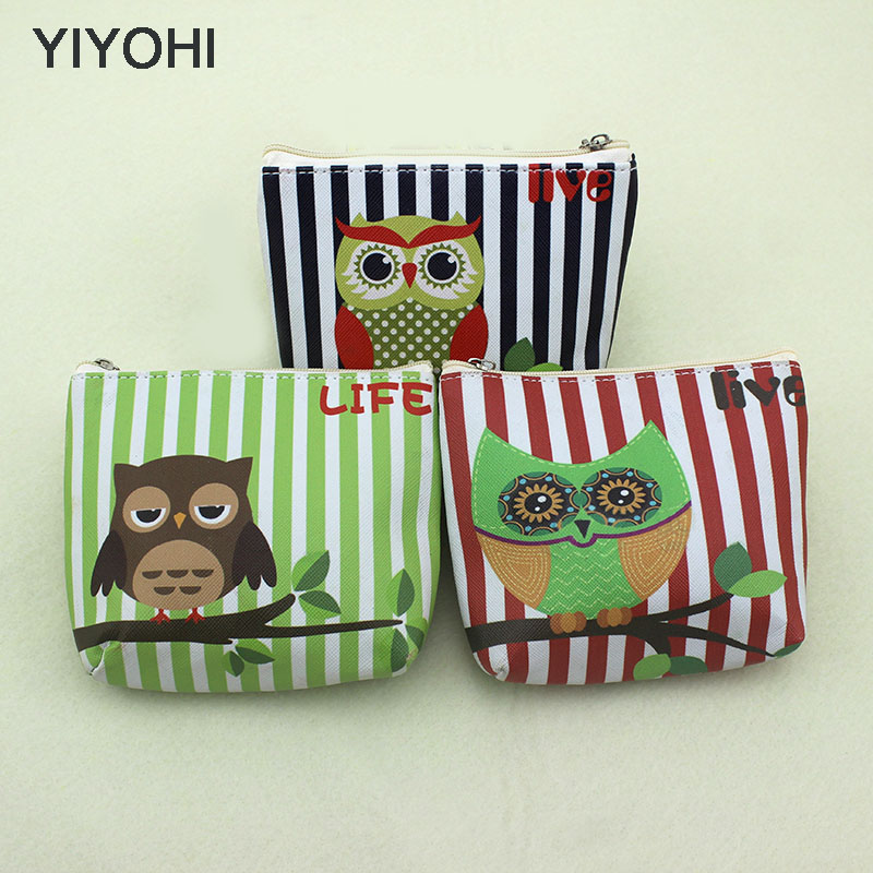 YIYOHI New Cute Fashion Owl Students Coin Purse Children PU Leather Zip Change Purse Women Wallet Animal Key Card Bag Kids Gift 2017 new fashion design women cute pu leather change purse wallet bag girls coin card money pouch portable purse small bag jan12