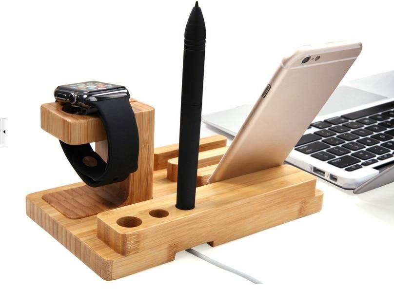 LYBALL Naturalne drewno Stojak biurkowy Bambusowy drewniany uchwyt - Części i akcesoria do telefonów komórkowych i smartfonów - Zdjęcie 3