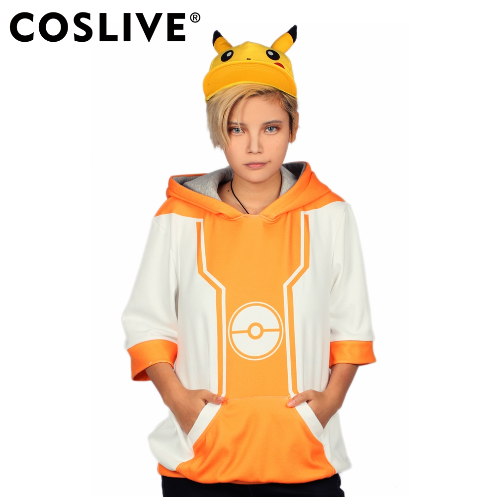 Coslive The Hot Game Pokemon GO Hooded Hoodie Half Sleeve Pullover Cosplay Costume Tops Casual Sweatshirts Hoodies 2019 New Sale