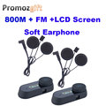 FM+LCD Screen! Soft Earphone! 2PCS TCOM-SC 800M HiFi BT Bluetooth Motorcycle helmet bt intercom