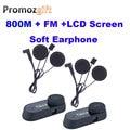 Pantalla FM + lcd! soft! 2 unids TCOM-SC 800 M HiFi BT Bluetooth casco de la motocicleta BT intercom