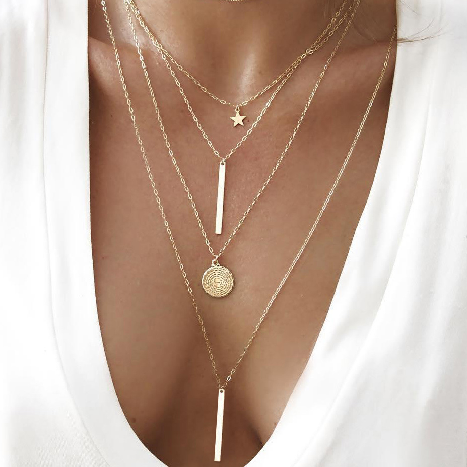 VIVILADY Trendy Star Round Disc Bar Stiker Layers Choker Necklace Women Gold Color Metal Chain Boho Accessory Jewelry Gift