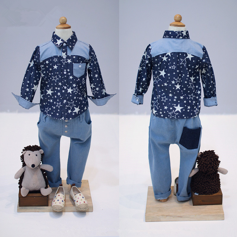 Collcction children's clothing baby boy autumn spring new arrival good quality male child five-pointed star denim shirt fashion letter print long sleeve sweatshirt dress page 6